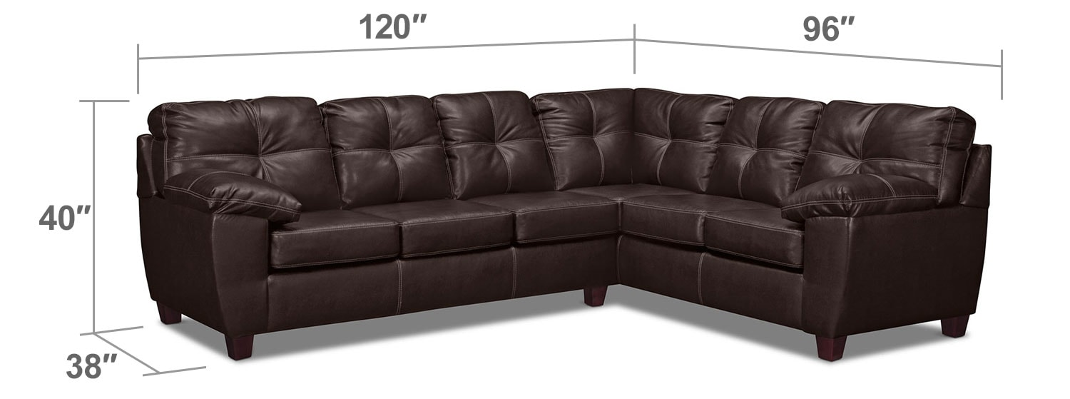 Living Room Furniture - Rialto 2-Piece Sectional with Left-Facing Innerspring Sleeper - Brown