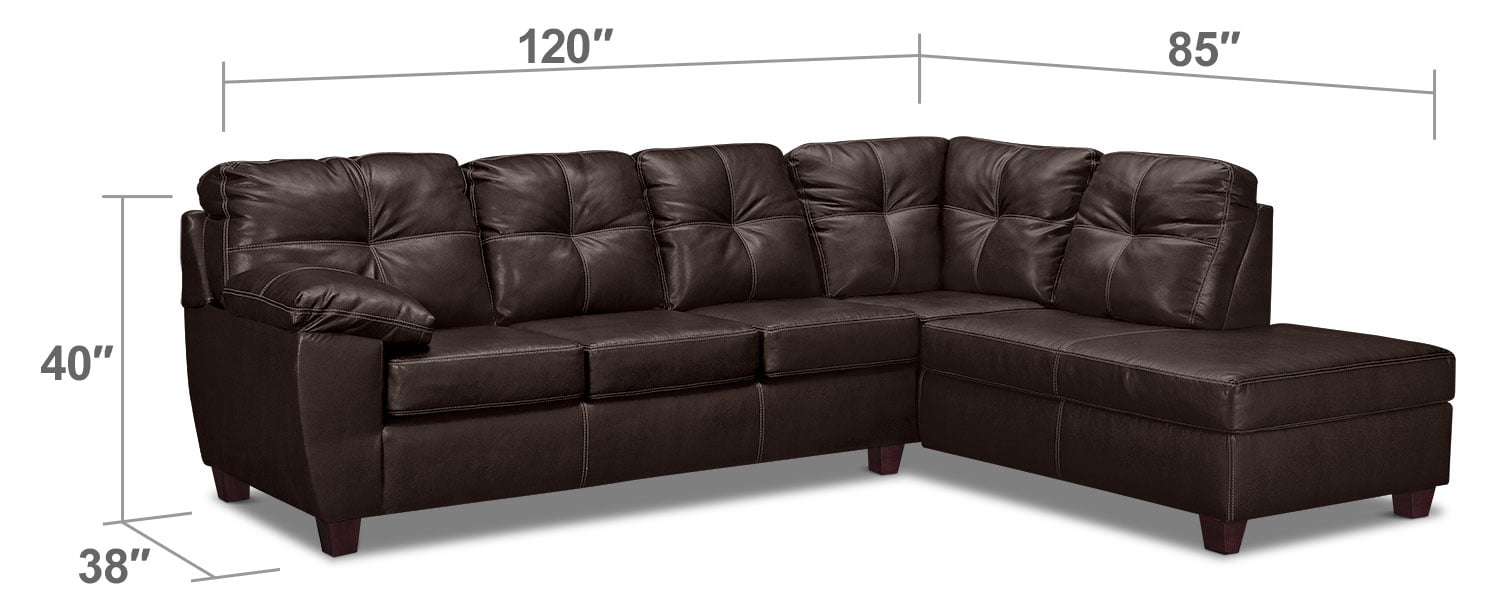 Living Room Furniture - Rialto 2-Piece Innerspring Sleeper Sectional with Right-Facing Chaise - Brown