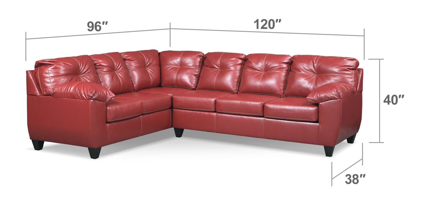 Living Room Furniture - Rialto 2-Piece Sectional with Right-Facing Corner Sofa - Cardinal