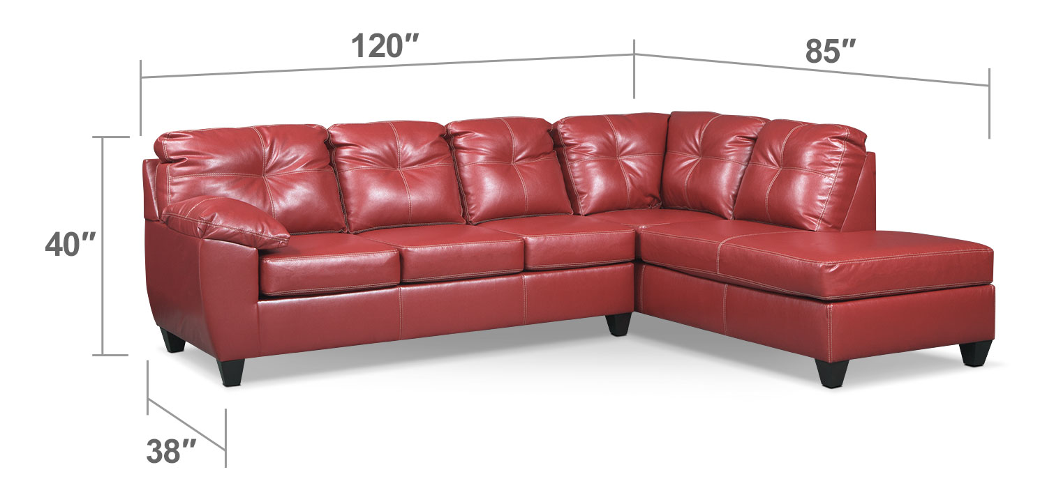 Living Room Furniture - Rialto 2-Piece Sectional with Right-Facing Chaise - Cardinal