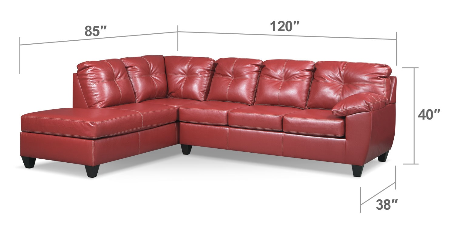 Living Room Furniture - Rialto 2-Piece Sectional with Left-Facing Chaise - Cardinal