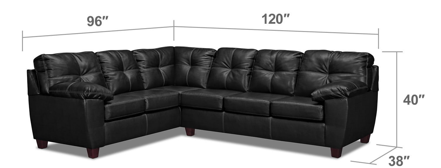 Living Room Furniture - Rialto 2-Piece Sectional with Right-Facing Corner Sofa - Onyx