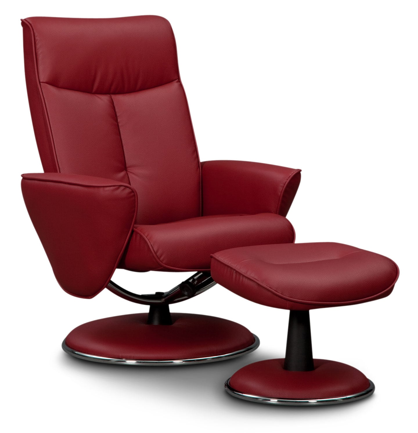 Living Room Furniture - Tracer Reclining Chair and Ottoman - Red