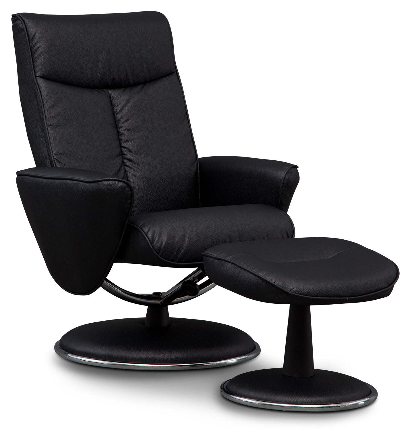 Living Room Furniture - Tracer Reclining Chair and Ottoman - Black