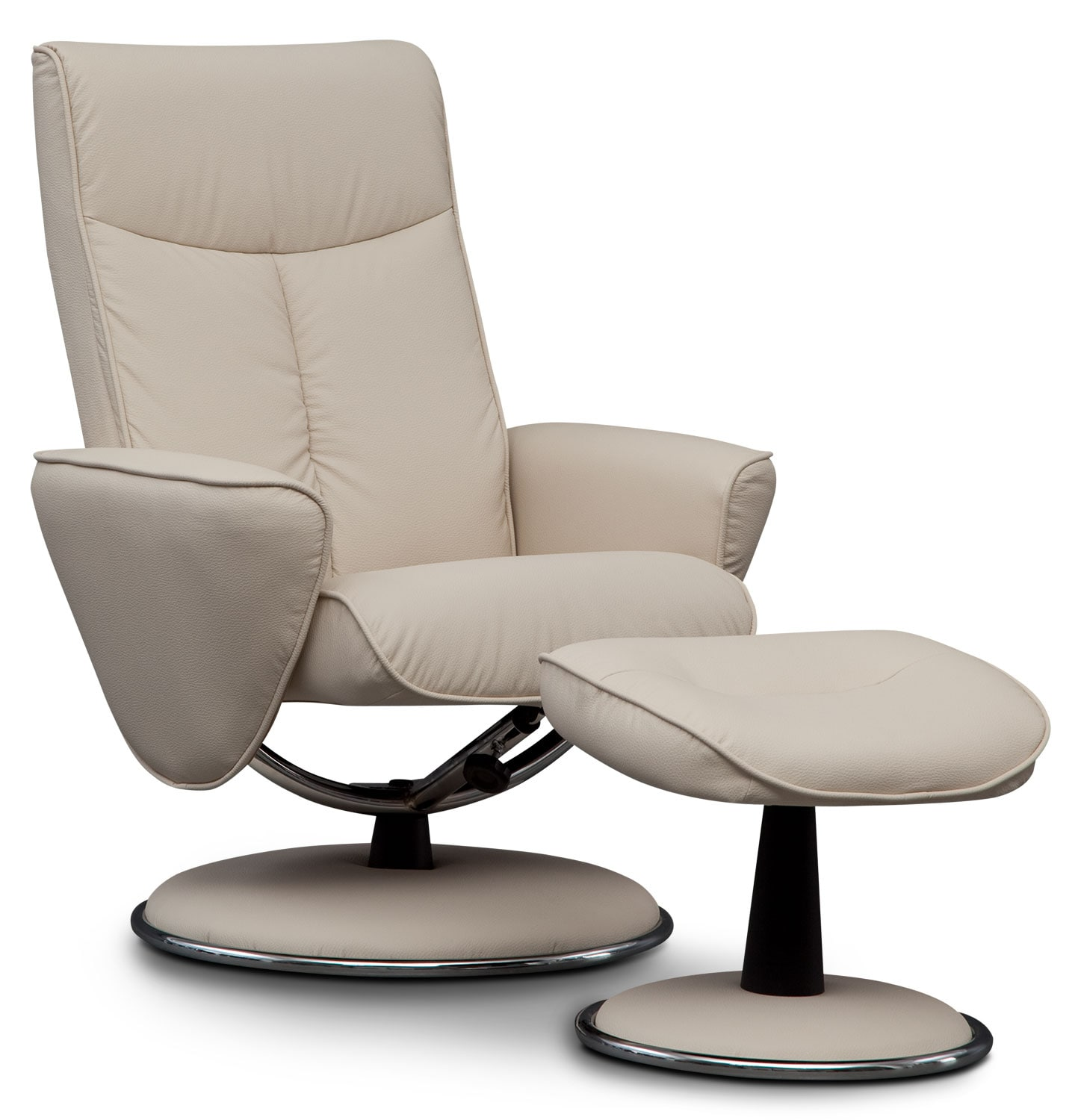 Living Room Furniture - Tracer Reclining Chair and Ottoman - Snow