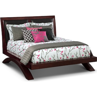 Jaden Full Upholstered Arch Bed - Merlot
