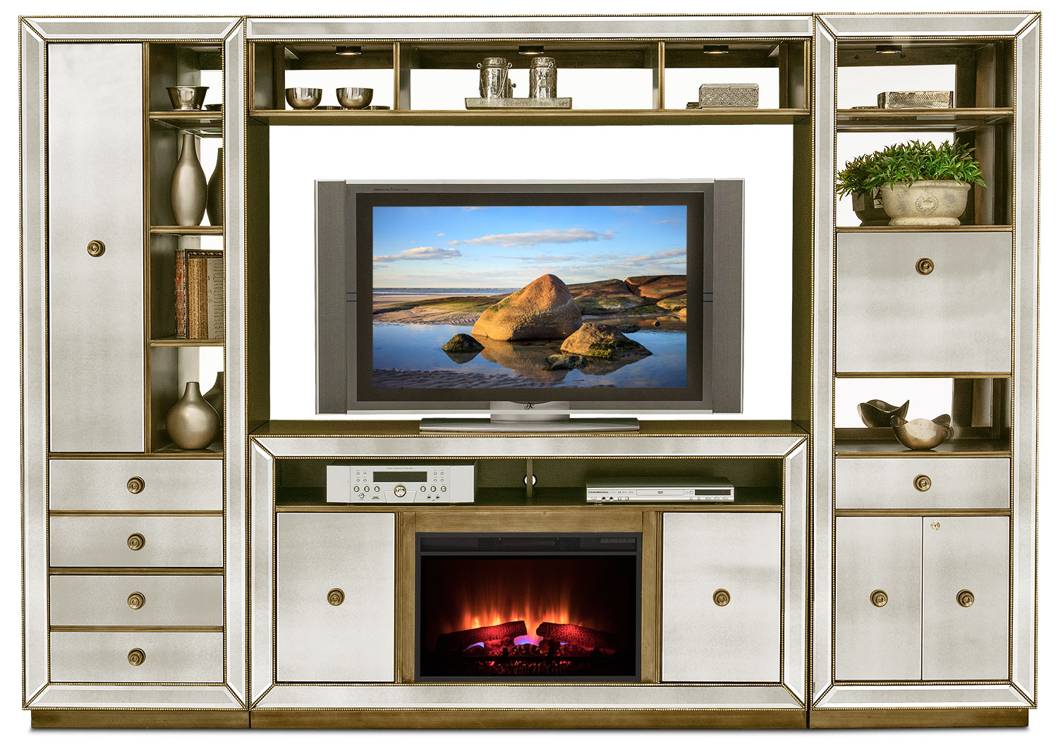 Reflection 4-Piece Entertainment Wall Unit with Traditional Fireplace - Mirror