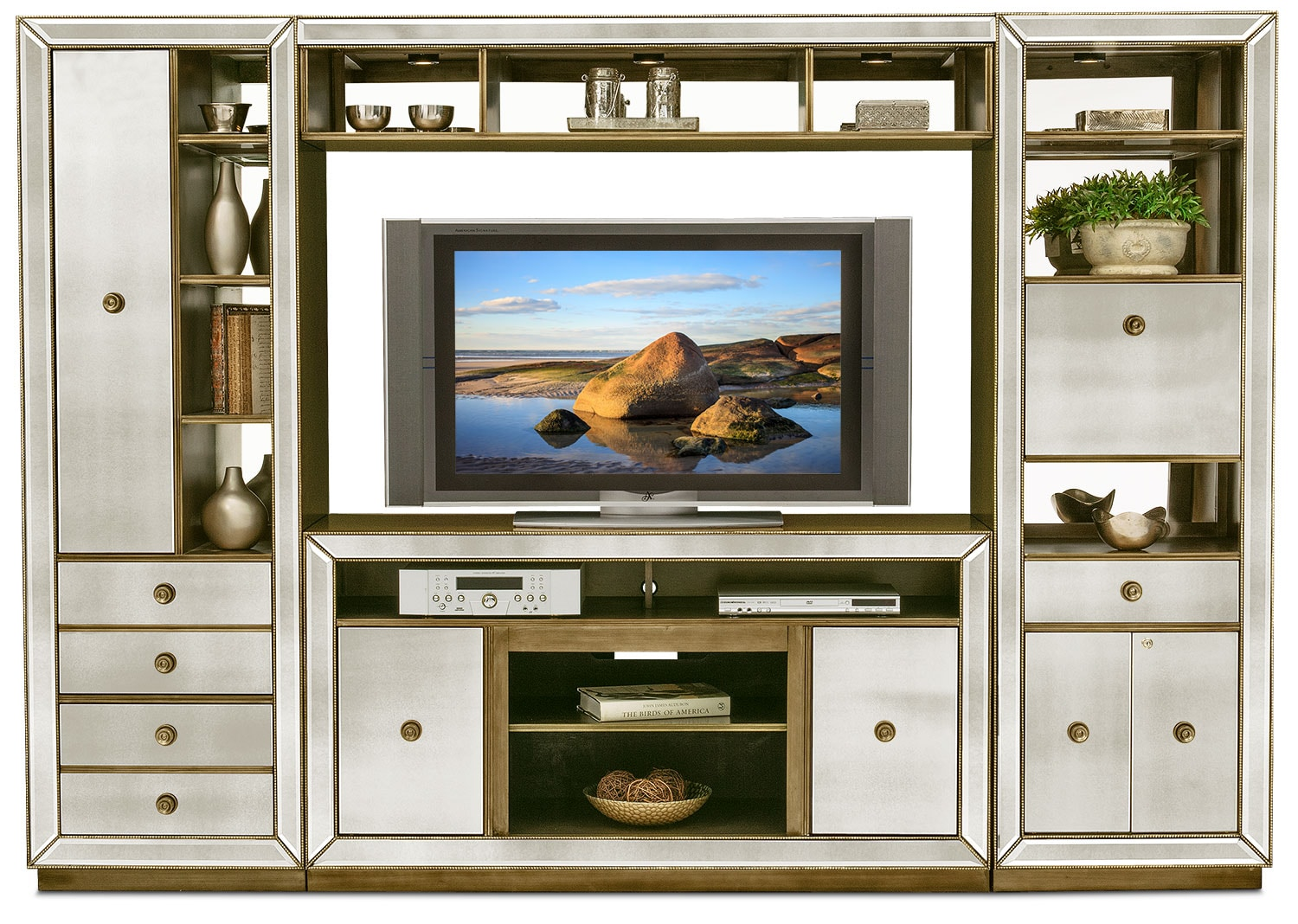 Entertainment Furniture - Reflection 4-Piece Entertainment Wall Unit - Mirror