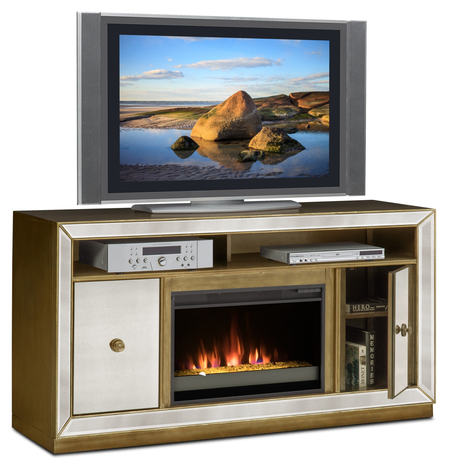 Entertainment Furniture - Reflection Contemporary Fireplace TV Stand - Mirror