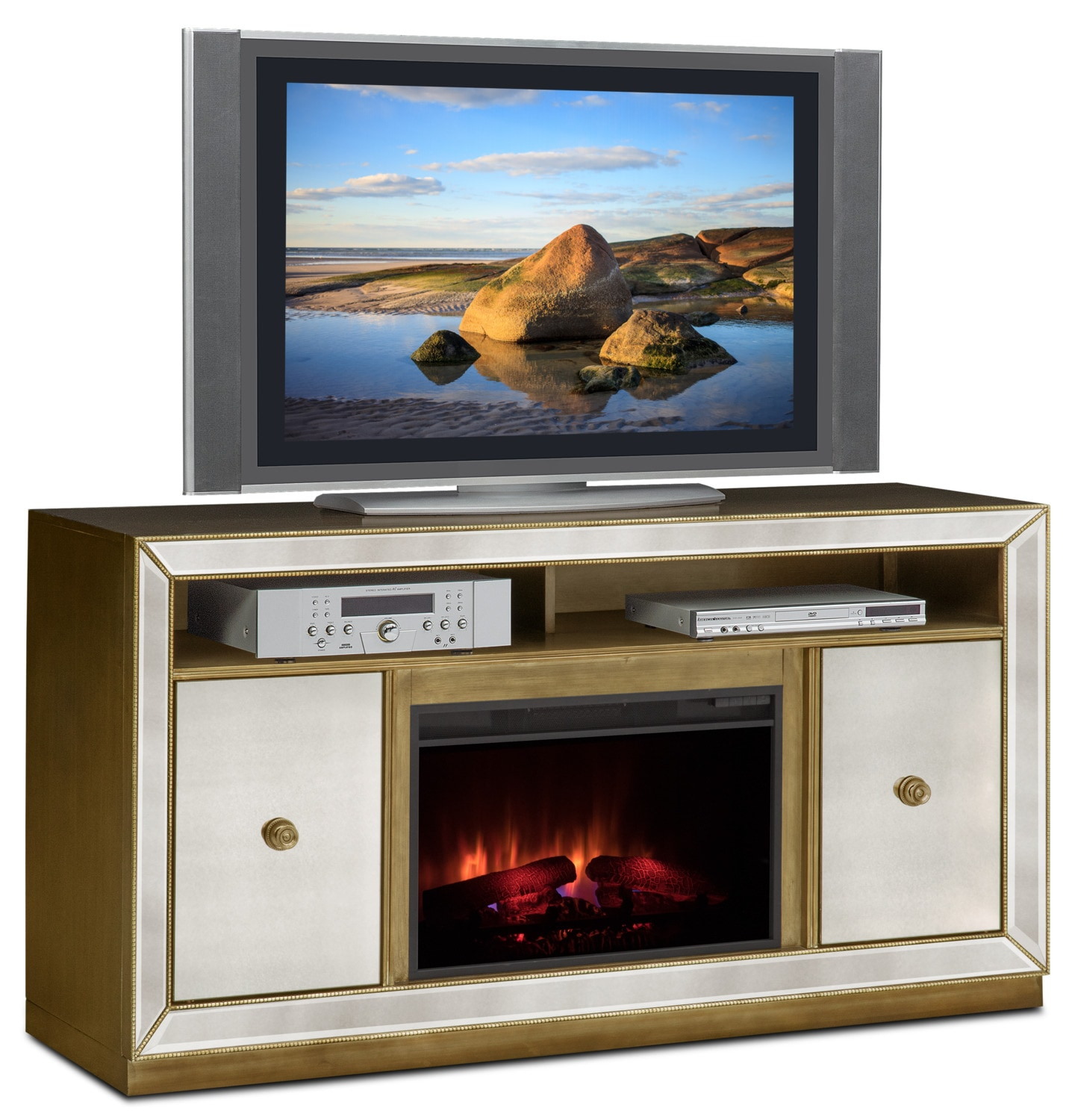 Reflection Traditional Fireplace TV Stand - Mirror