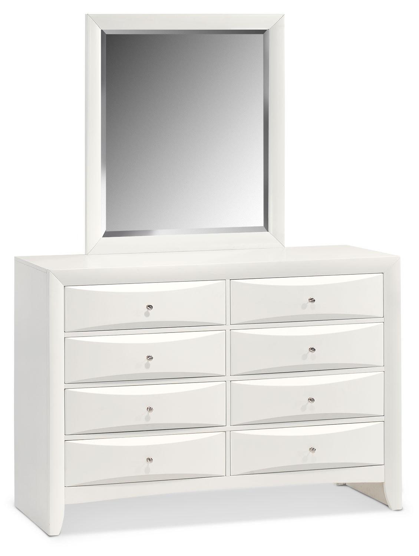 Bedroom Furniture - Braden Dresser and Mirror  - White