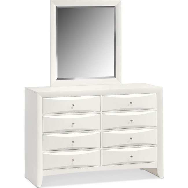 Bedroom Furniture - Braden Dresser and Mirror  - White