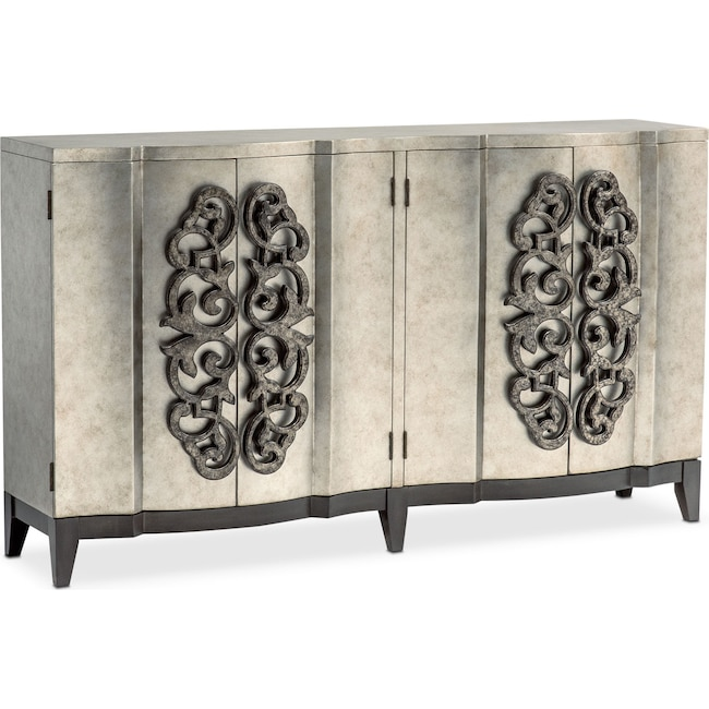 Accent and Occasional Furniture - Evita Wine Credenza - Metallic Silver