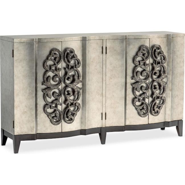 Accent and Occasional Furniture - Evita Wine Credenza - Metallic Silver