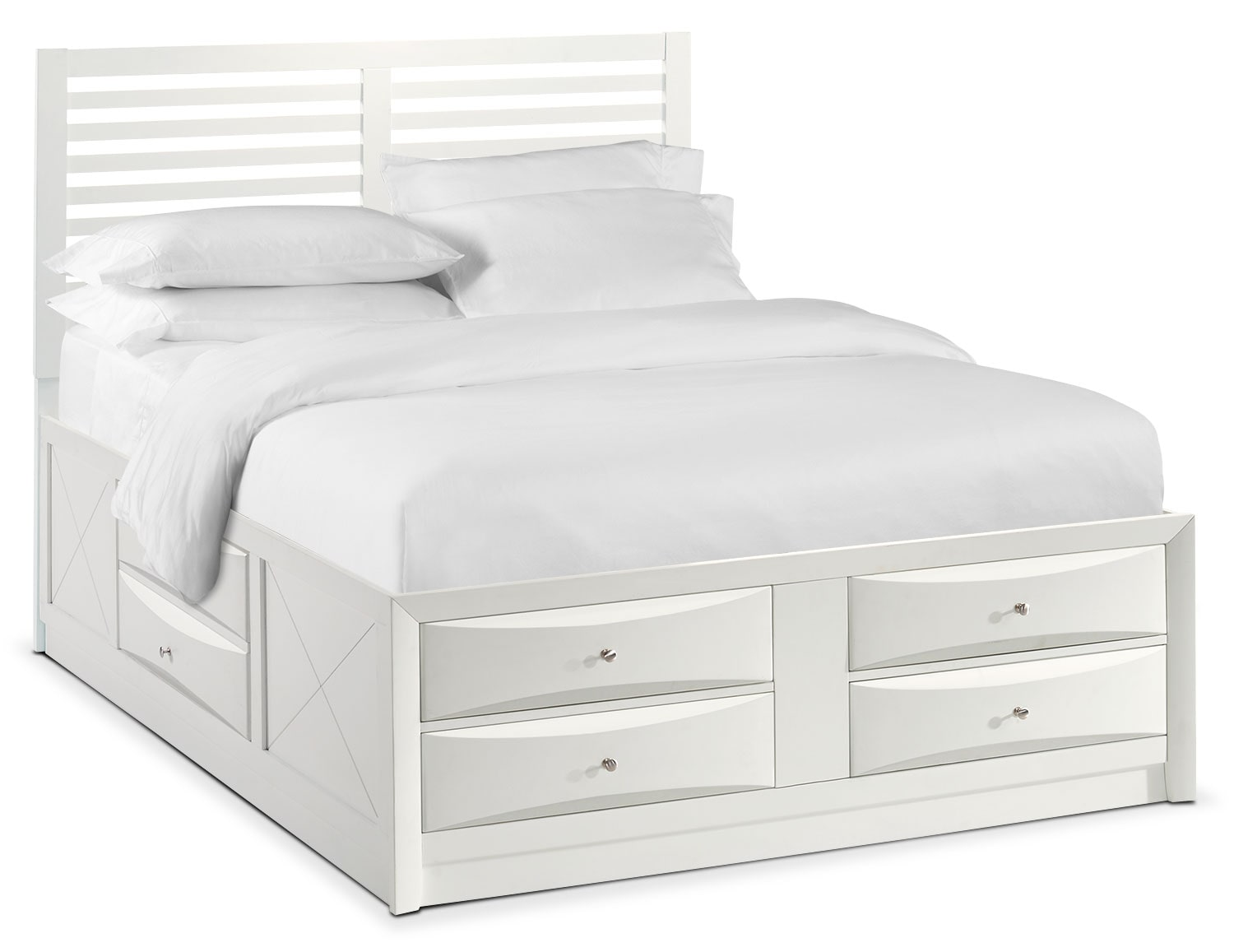 Bedroom Furniture - Braden Full Slat Bed with Storage - White