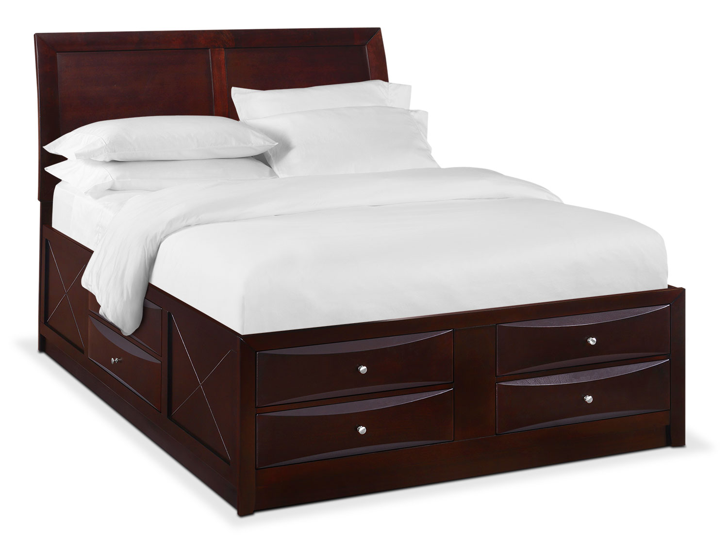 Bedroom Furniture - Braden Queen Storage Bed - Merlot