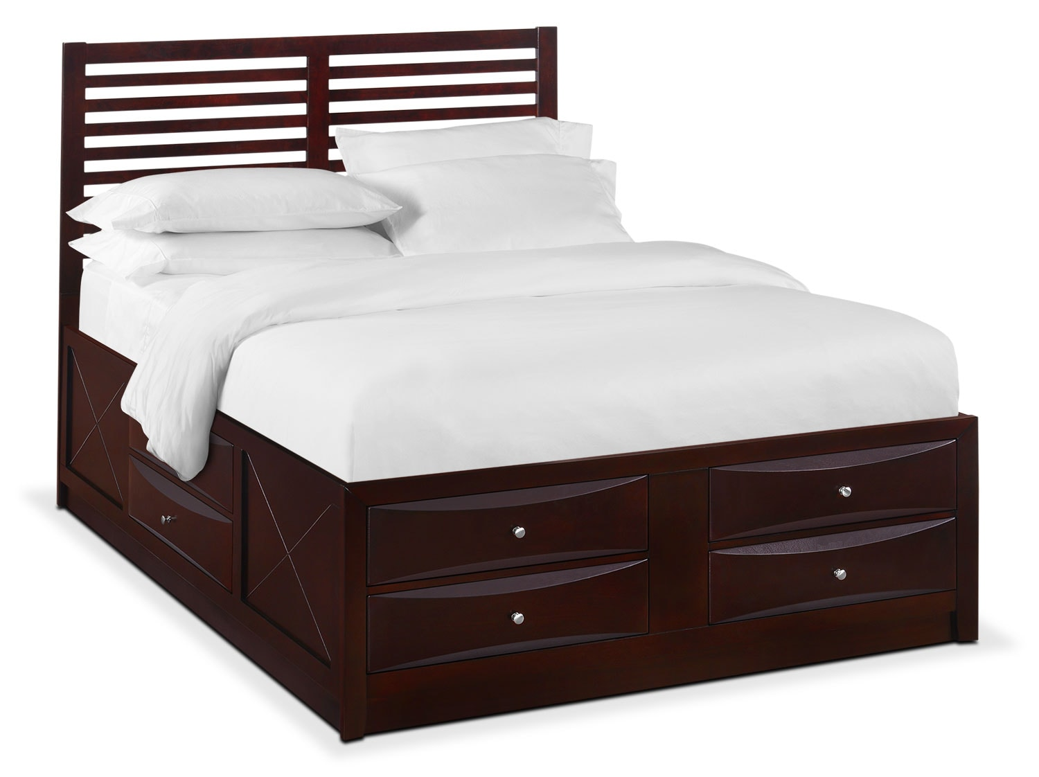 Braden Queen Slat Bed with Storage - Merlot