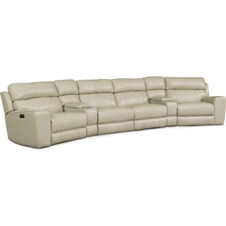 Newport 6-Piece Power Reclining Sectional with 2 Wedge Consoles - Cream