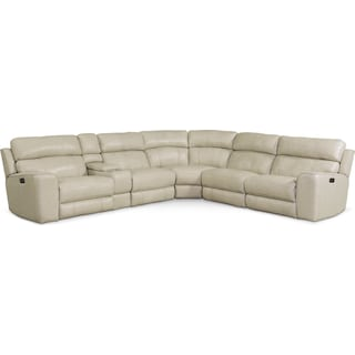 Newport 6-Piece Dual-Power Reclining Sectional with 3 Reclining Seats - Cream