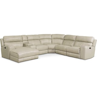 Newport 6-Piece Power Reclining Sectional with Left-Facing Chaise and 2 Recliners - Cream