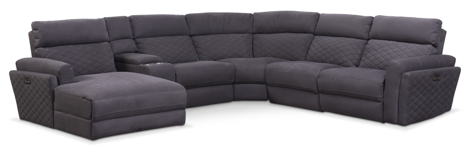 Catalina 6-Piece Power Reclining Sectional with Left-Facing Chaise and 2 Recliners - Gray