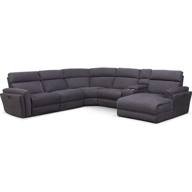 Living Room Furniture - Catalina 6-Piece Power Reclining Sectional with Right-Facing Chaise and 1 Recliner - Gray