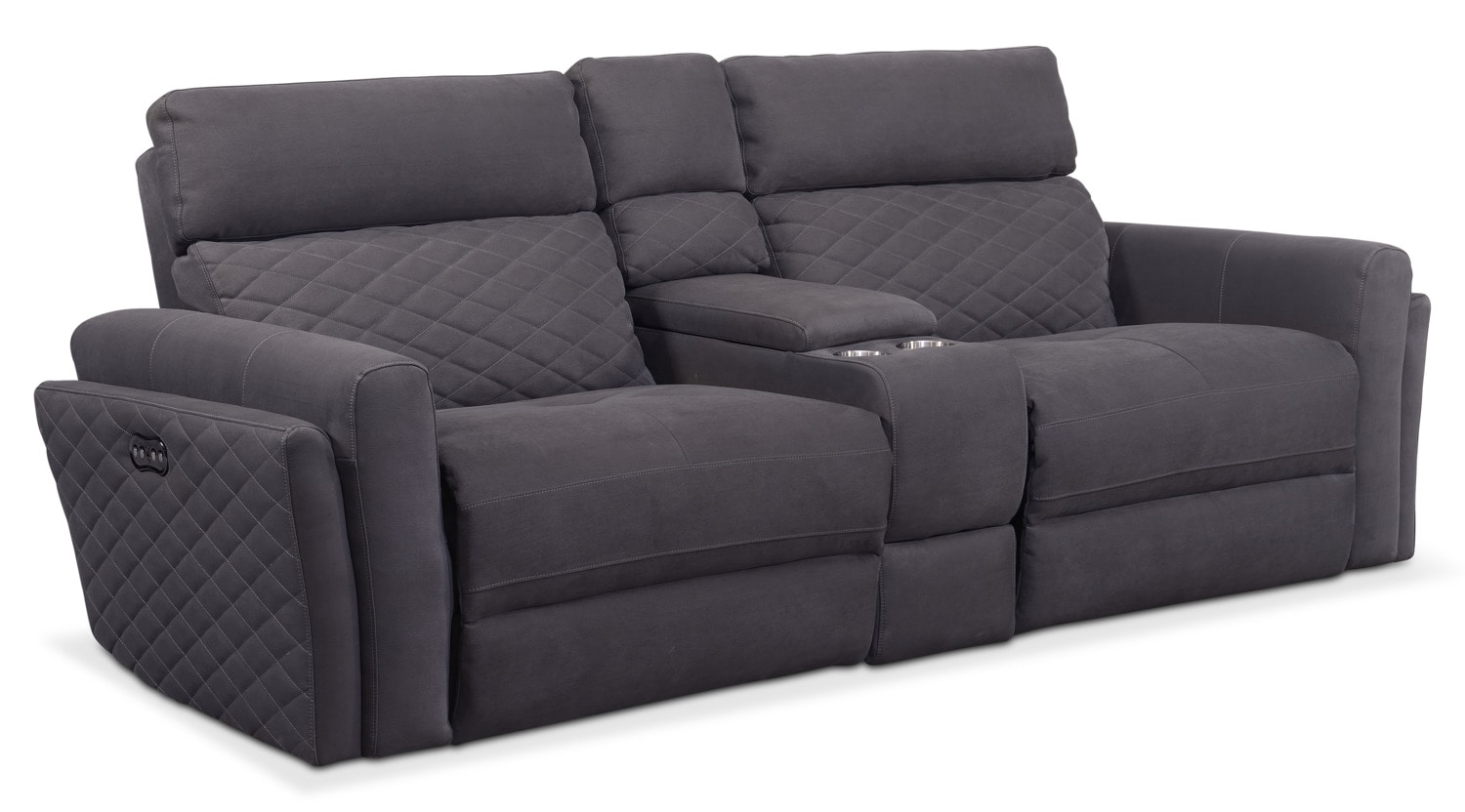Living Room Furniture - Catalina 2-Piece Dual-Power Reclining Sofa with Console