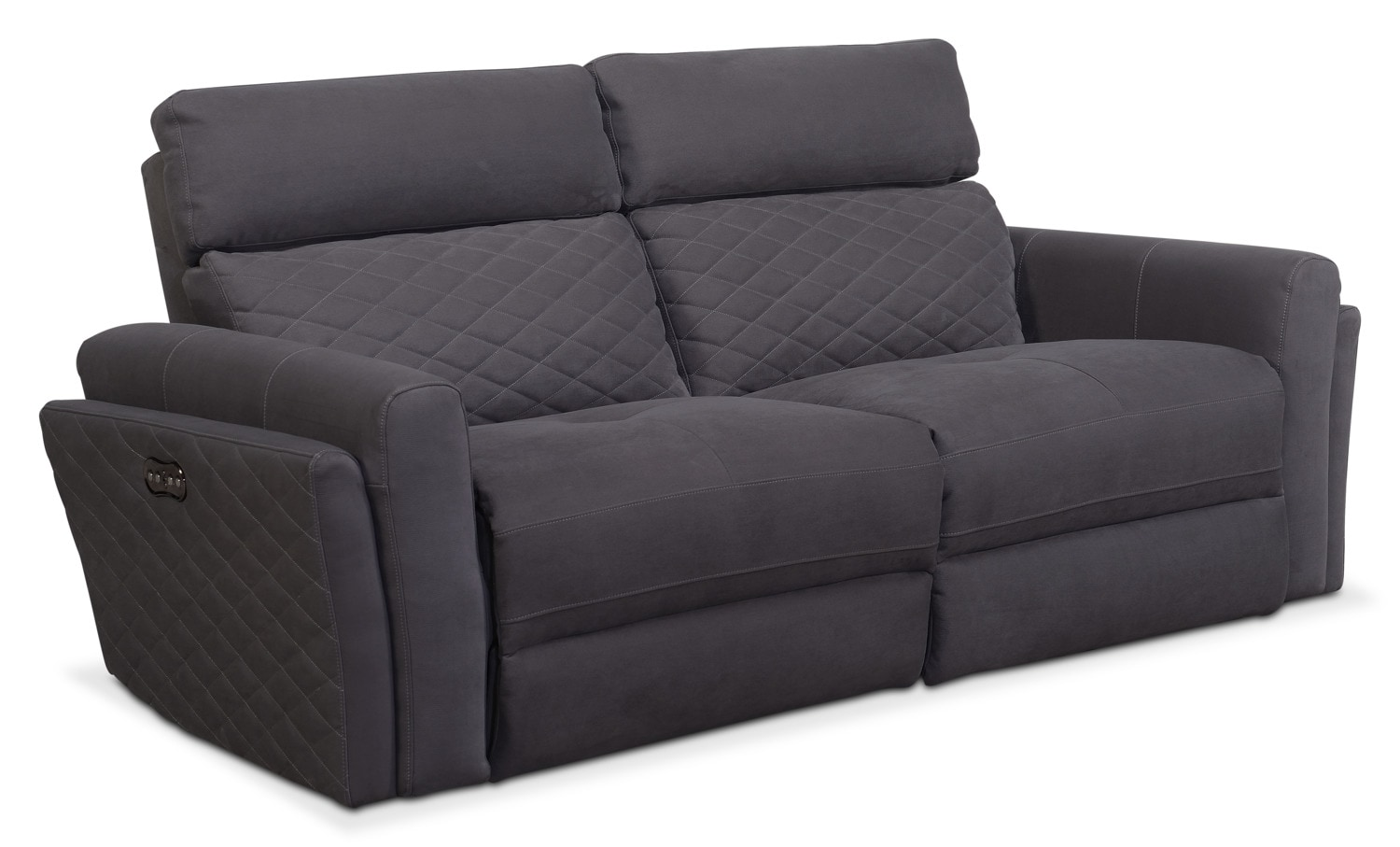 catalina 2 piece power reclining sofa gray american signature furniture. Black Bedroom Furniture Sets. Home Design Ideas