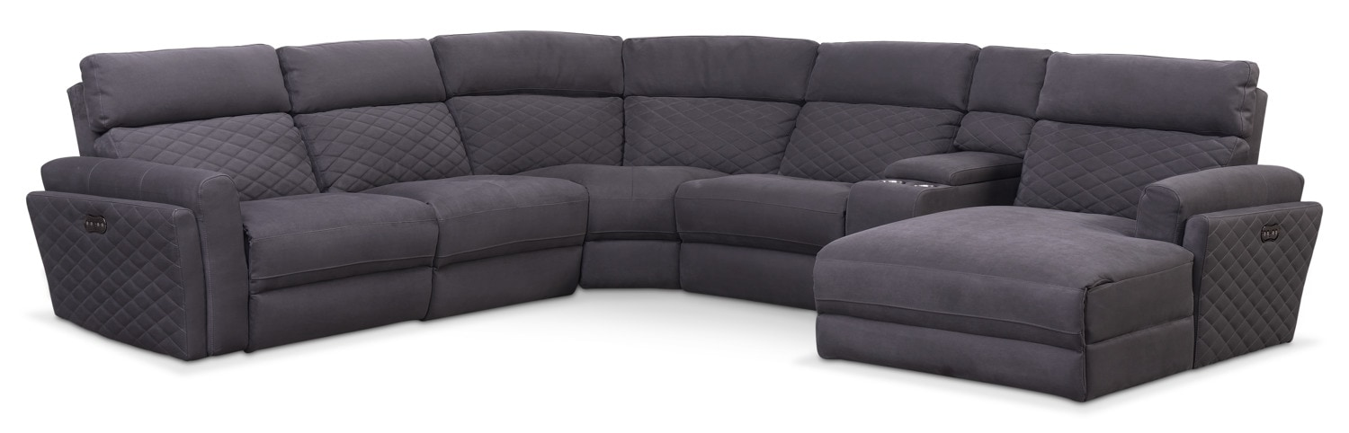 Catalina 6-Piece Power Reclining Sectional with Right-Facing Chaise and 2 Recliners - Gray