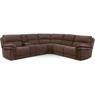 Monterey 6-Piece Power Reclining Sectional with 3 Reclining Seats - Mocha