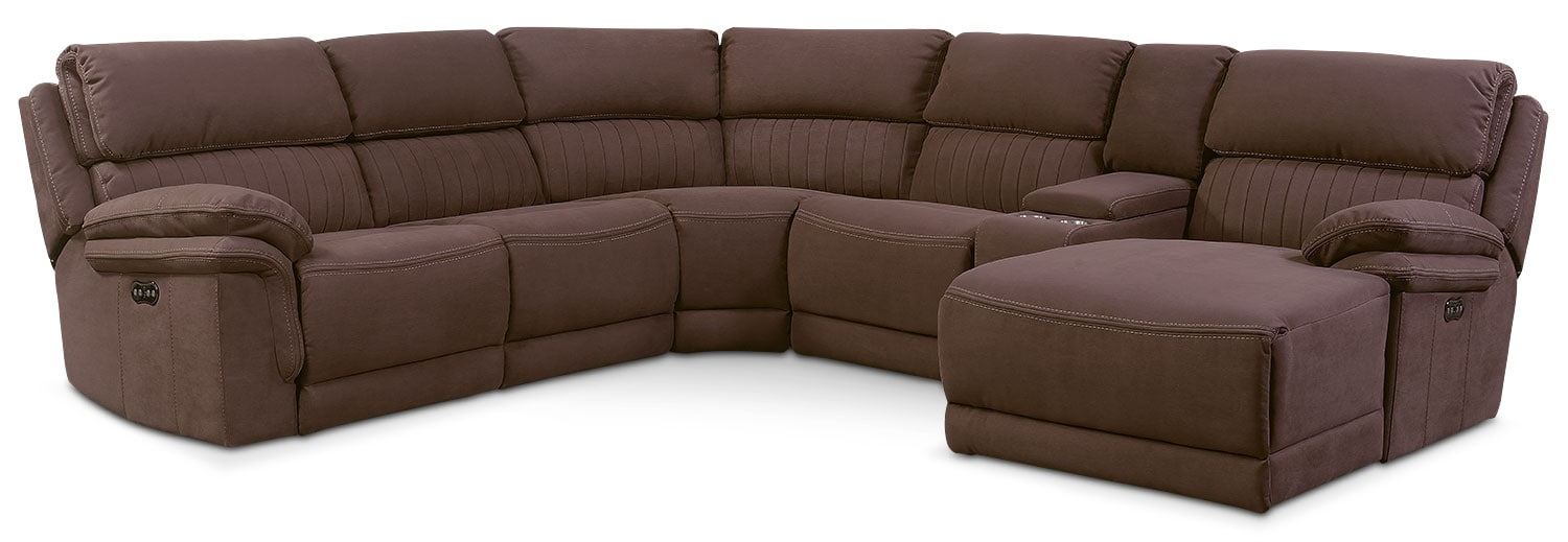 Monterey 6-Piece Power Reclining Sectional with Right-Facing Chaise and 2 Recliners - Mocha