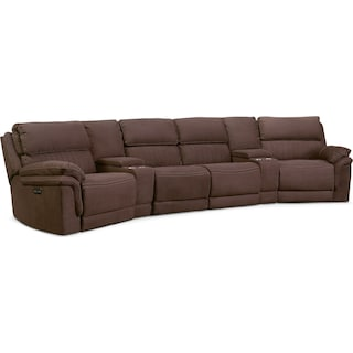 Monterey 6-Piece Power Reclining Sectional with 2 Wedge Consoles - Mocha