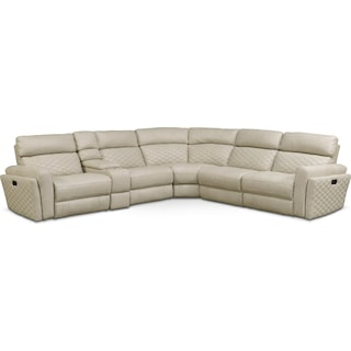Catalina 6-Piece Power Reclining Sectional with 2 Reclining Seats - Cream