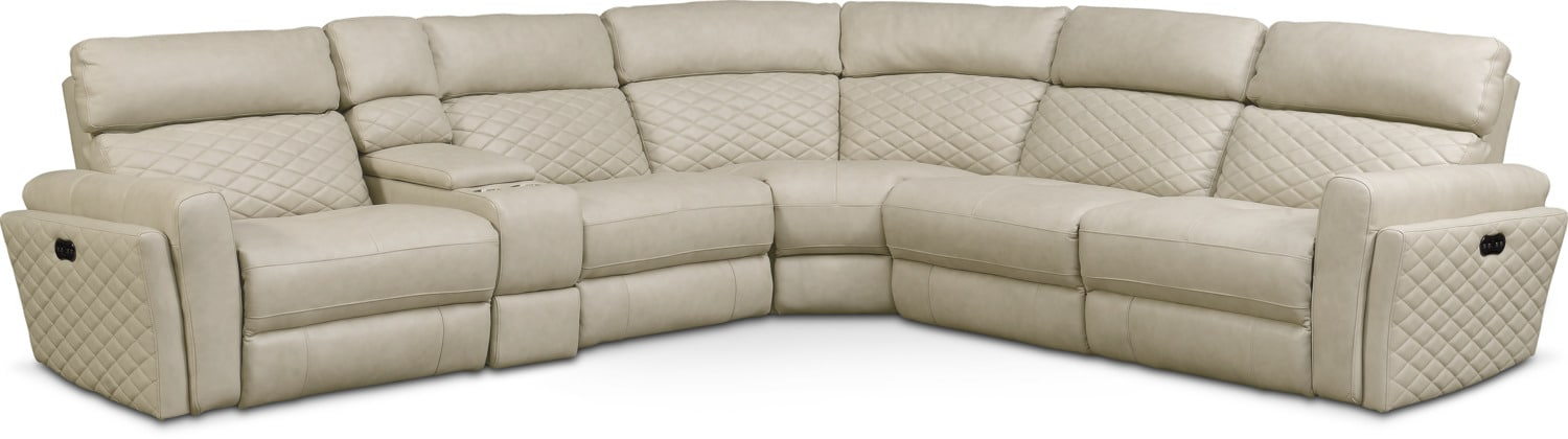 catalina 6piece power reclining sectional with 2 reclining seats cream