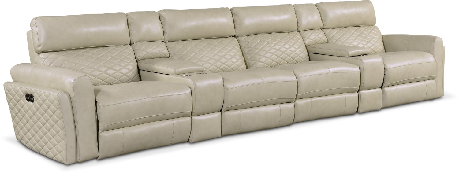 Catalina 6-Piece Power Sectional with 4 Reclining Seats - Cream