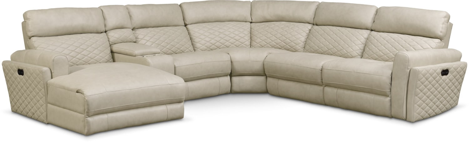 Living Room Furniture - Catalina 6-Piece Power Reclining Sectional with Left-Facing Chaise and 2 Recliners - Cream