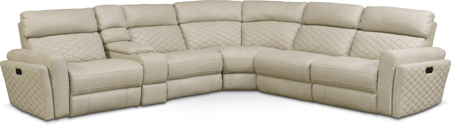 Catalina 6-Piece Power Reclining Sectional with 3 Reclining Seats - Cream