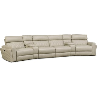 Catalina 6-Piece Power Reclining Sectional with Wedge Consoles - Cream