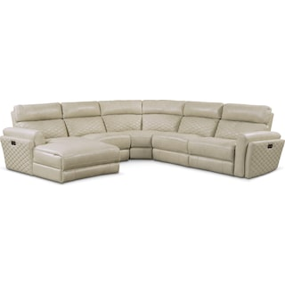 Catalina 5-Piece Power Reclining Sectional with Left-Facing Chaise and 2 Recliners - Cream