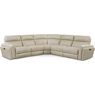 Catalina 5-Piece Power Reclining Sectional with 3 Reclining Seats - Cream