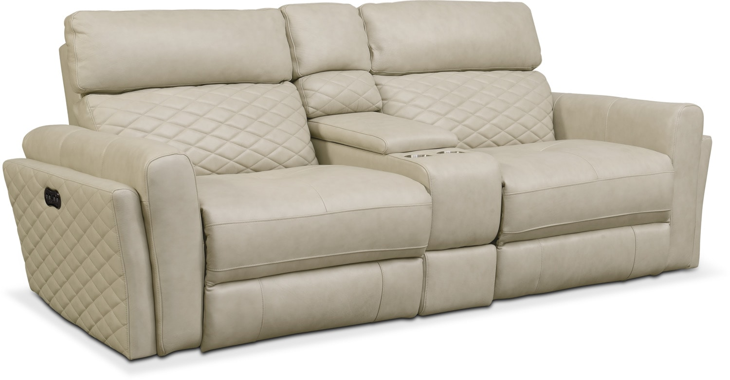Living Room Furniture   Catalina 3 Piece Power Reclining Sofa With Console    Cream