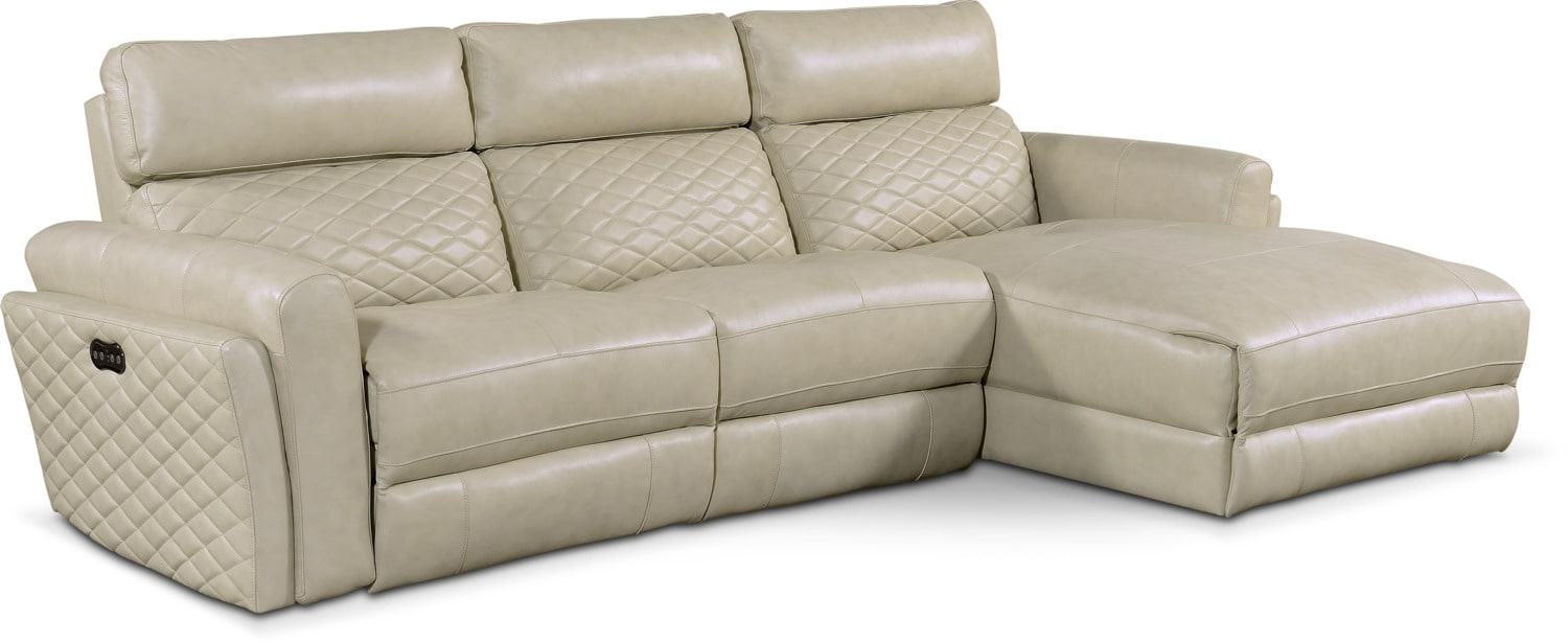 Was $2149.97 Today $1934.97 Catalina 3-Piece Power Reclining Sectional with Right-Facing Chaise - Cream by One80  sc 1 st  American Signature Furniture : one80 sectional - Sectionals, Sofas & Couches
