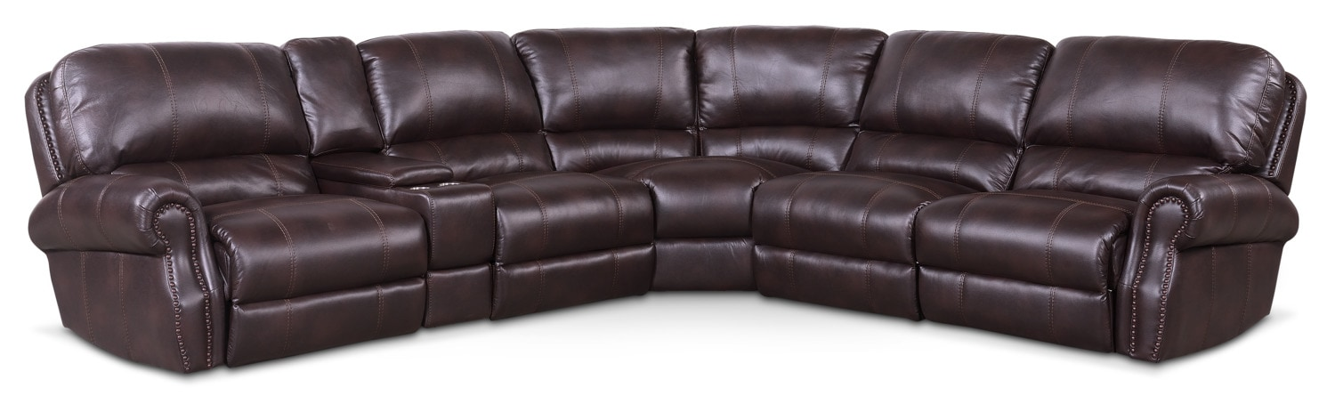Living Room Furniture - Dartmouth 6-Piece Dual-Power Reclining Sectional with 2 Reclining Seats