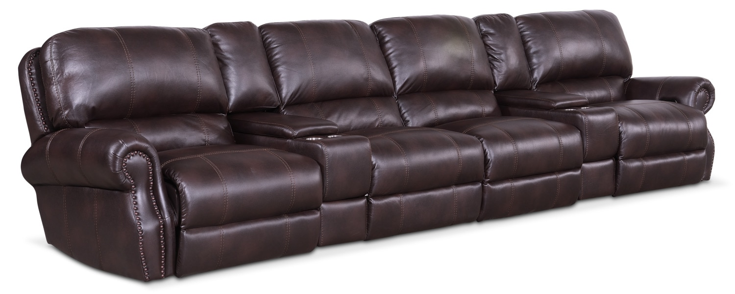 Living Room Furniture - Dartmouth 6-Piece Power Reclining Sectional with 4 Reclining Seats - Burgundy