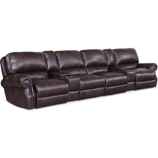 Dartmouth 6-Piece Power Reclining Sectional with 4 Reclining Seats - Burgundy
