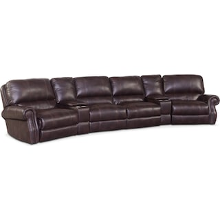 Dartmouth 6-Piece Power Reclining Sectional with 2 Wedge Consoles - Burgundy