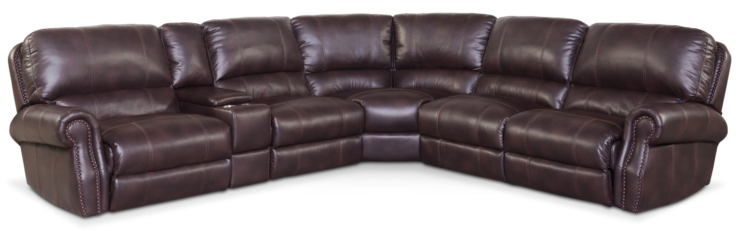 Living Room Furniture - Dartmouth 6-Piece Power Reclining Sectional with 3 Reclining Seats - Burgundy
