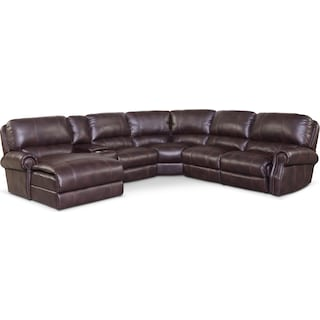 Dartmouth 6-Piece Power Reclining Sectional w/ Left-Facing Chaise and 2 Reclining Seats - Burgundy