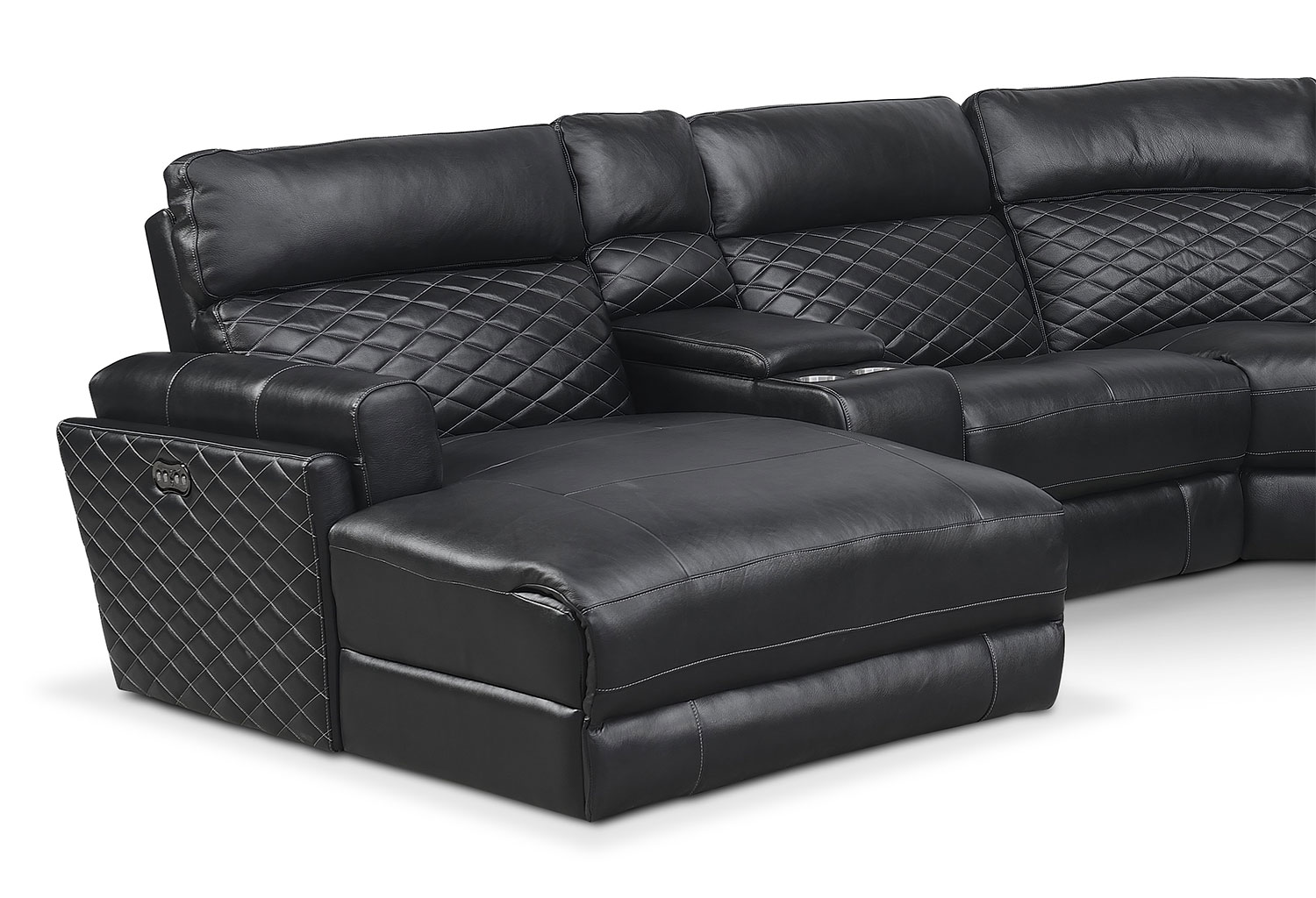 Catalina 6 piece power reclining sectional with left for Black sectional with chaise