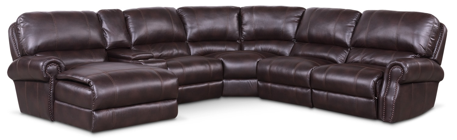 Dartmouth 6-Piece Power Reclining Sectional w/ Left-Facing Chaise and 1 Reclining Seat - Burgundy